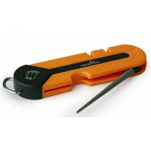 Taidea outdoor knife sharpener with a whistle and compass.